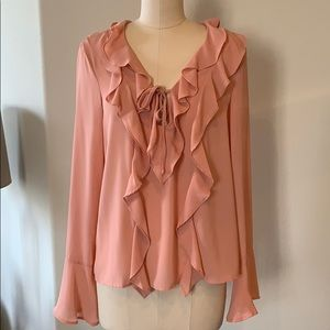 NWT Lumiere Peach Ruffle Trim Top S